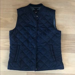 Navy quilted vest from the Gap